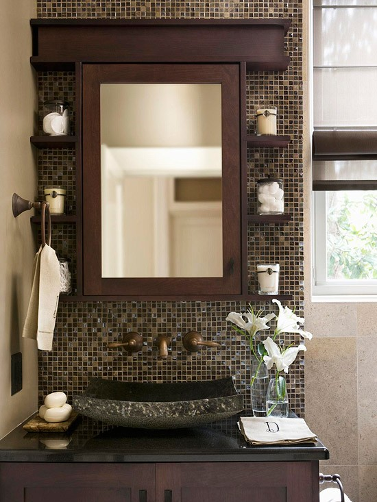 salle de bain marron sweet deco. Black Bedroom Furniture Sets. Home Design Ideas